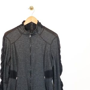 Zella Gray & Black Zip Up Lightweight Jacket